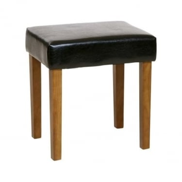 Denver Black Faux Leather Stool with Rubberwood Legs