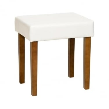 Denver Cream Faux Leather Stool with Rubberwood Legs