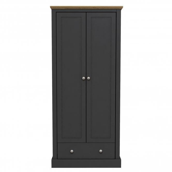 Devon 2 Door 1 Drawer Combination Wardrobe, Charcoal Grey