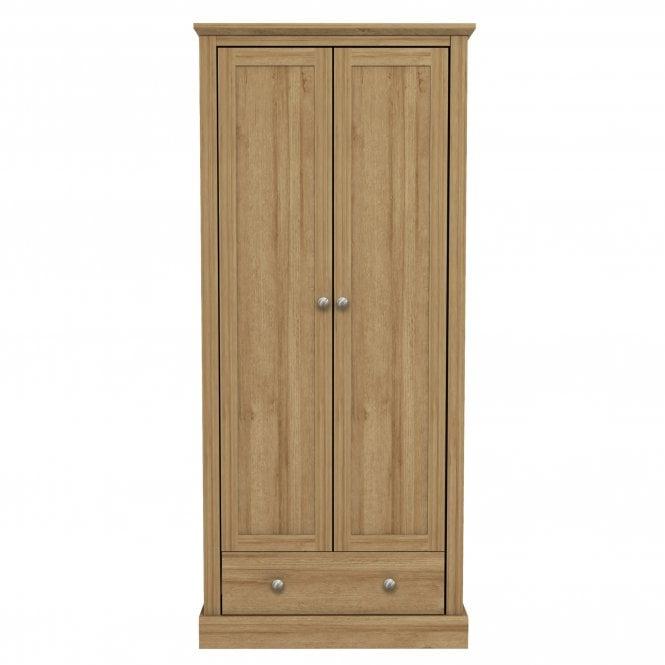Devon 2 Door 1 Drawer Combination Wardrobe, Oak