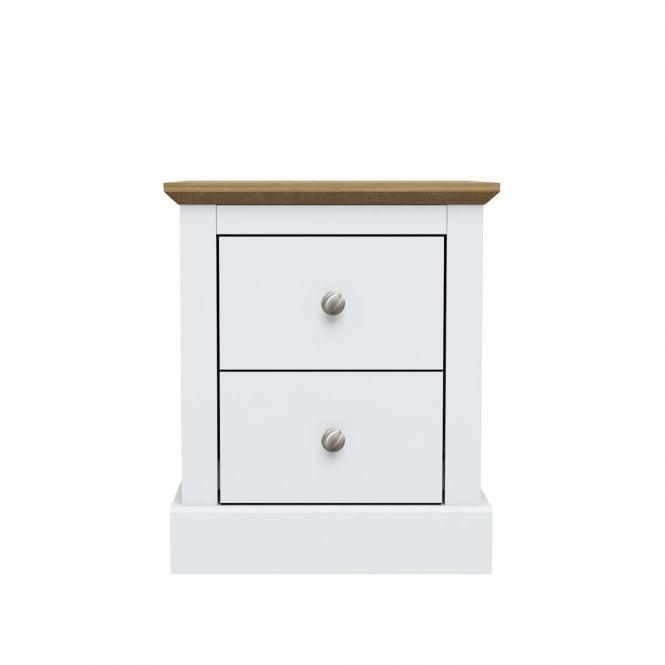 Devon 2 Drawer Bedside Cabinet, White
