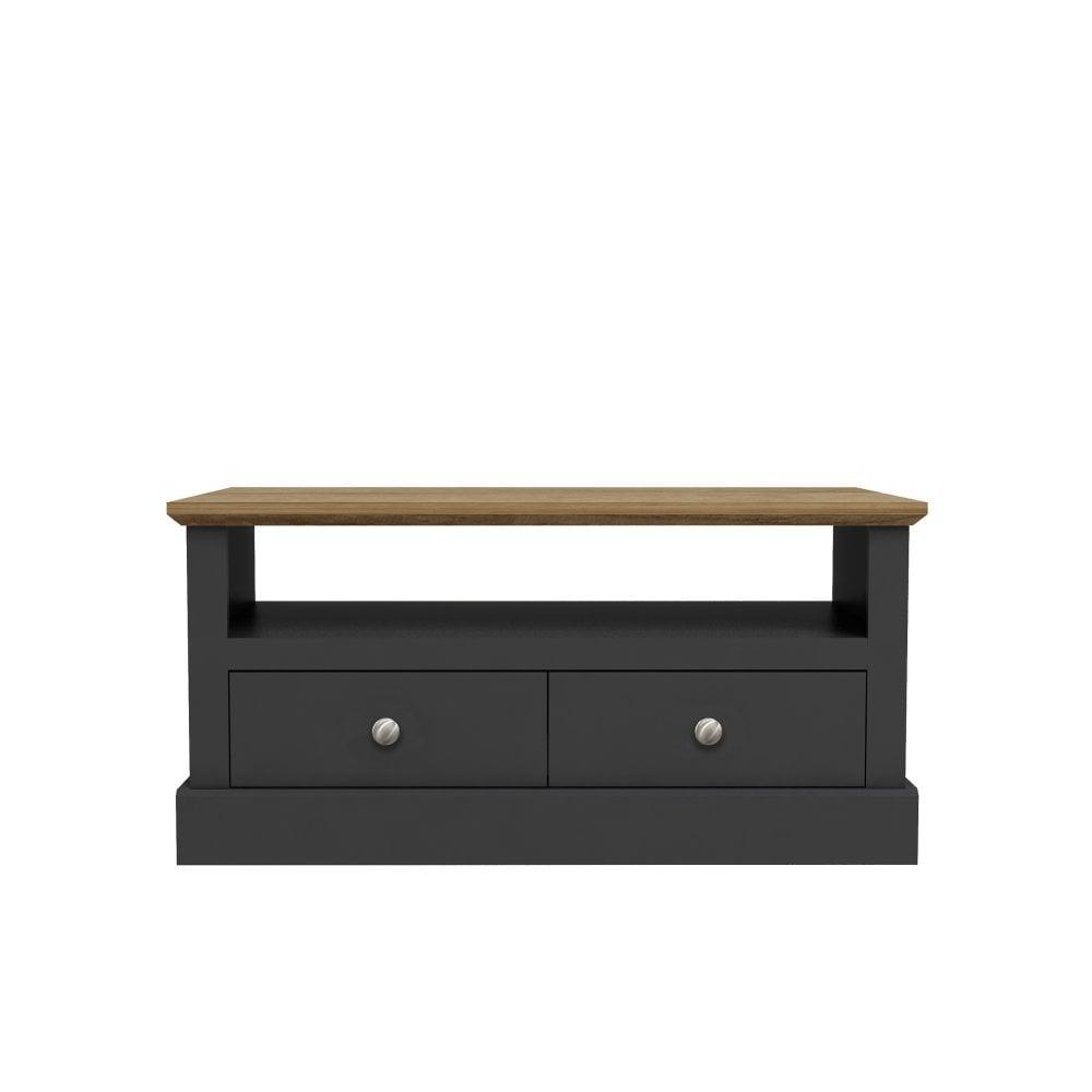 Lpd Furniture Devon 2 Drawer Coffee Table Charcoal Grey Leader Furniture