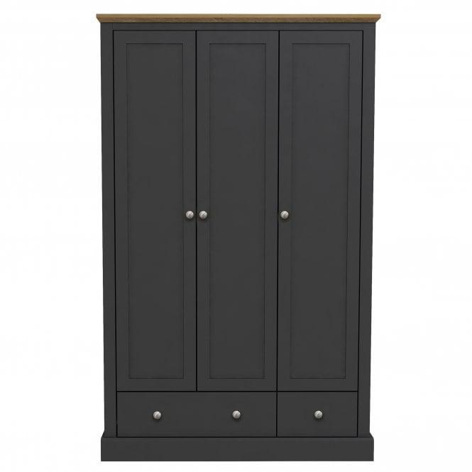 Devon 3 Door 2 Drawer Combination Wardrobe, Charcoal Grey