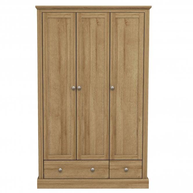 Devon 3 Door 2 Drawer Combination Wardrobe, Oak