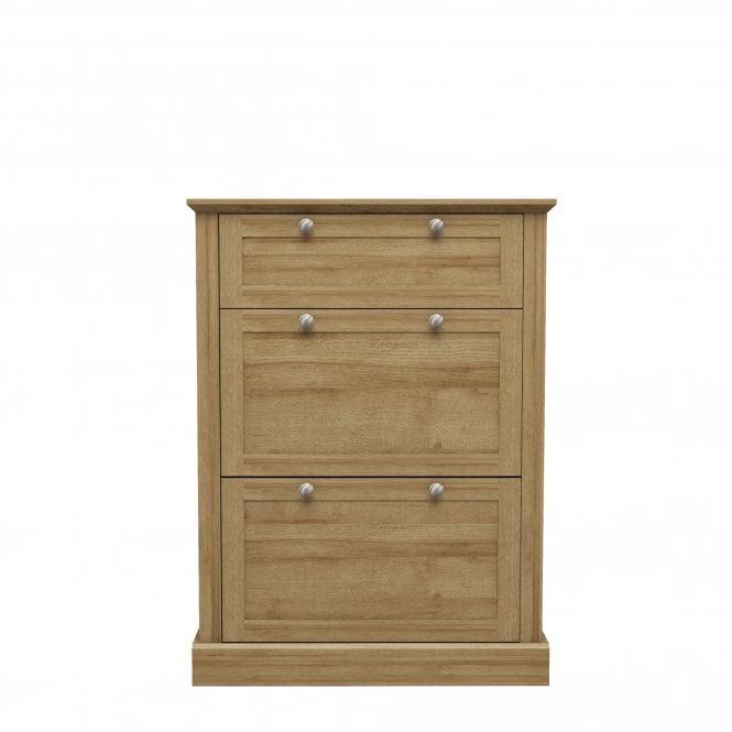 Devon 3 Door Shoe Cabinet, Oak