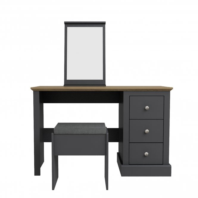 Devon 3 Drawer Dressing Table Set, Charcoal Grey