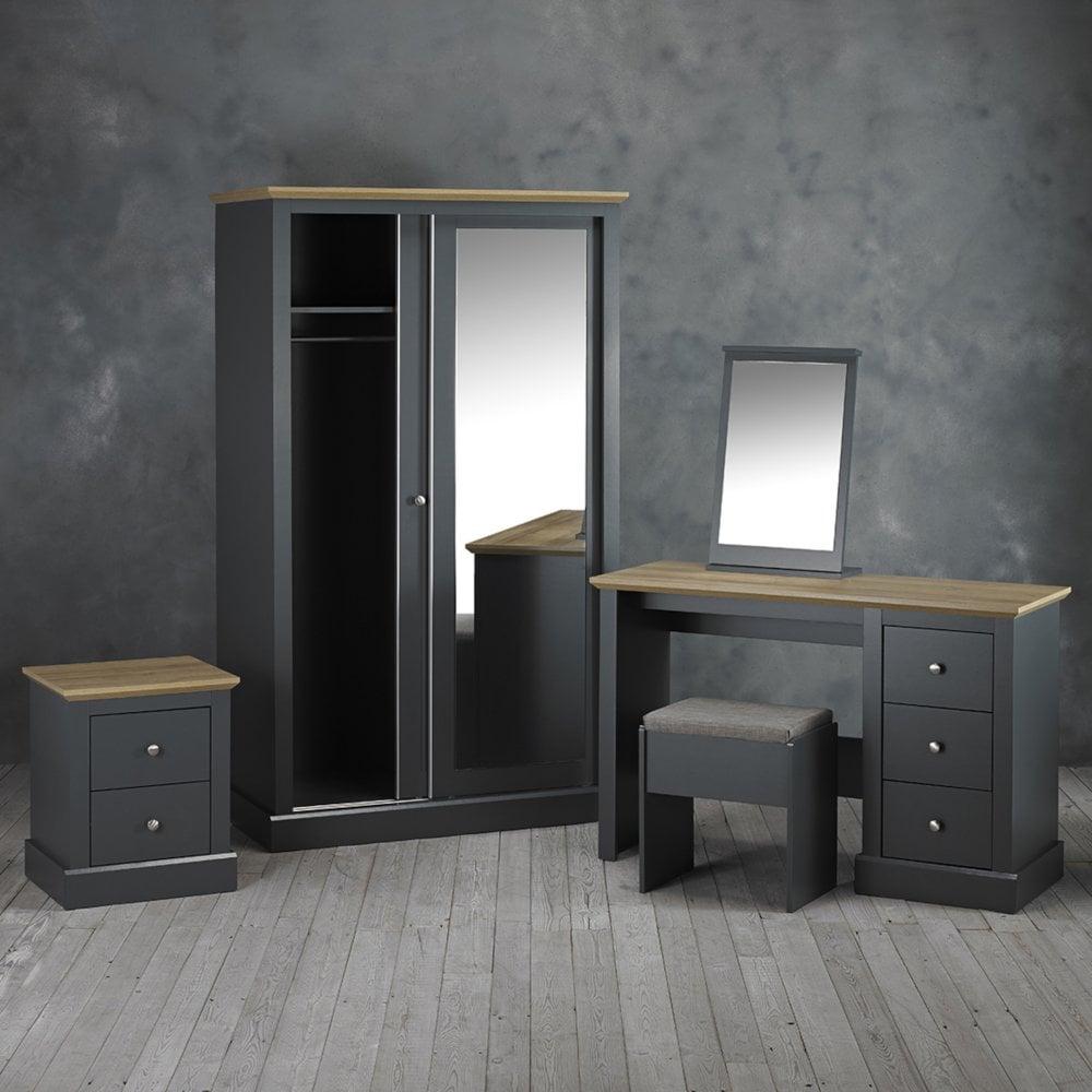 LPD Furniture Devon 3 Drawer Dressing Table Set, Charcoal Grey | Leader  Furniture