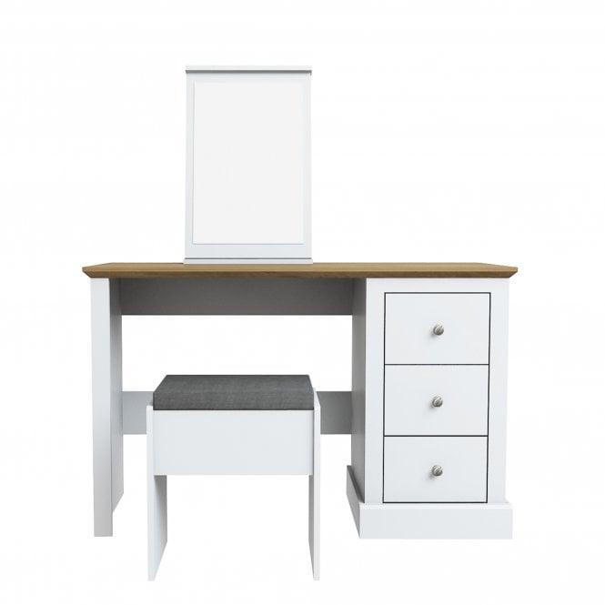 Devon 3 Drawer Dressing Table Set, White
