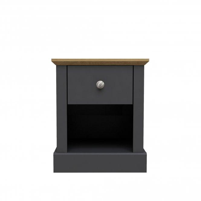 Devon Rectangular 1 Drawer Lamp Table, Charcoal Grey