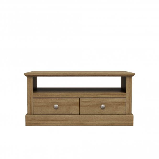 Devon Rectangular 2 Drawer Coffee Table, Oak