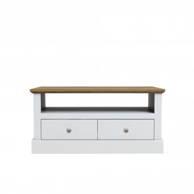Devon Rectangular 2 Drawer Coffee Table, White