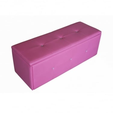 LPD Furniture Diamante Pink Faux Leather Ottoman