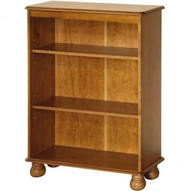 Dovedale Antique Honey Tinted Lacquer Pine Low Bookcase with Adjustable Shelves