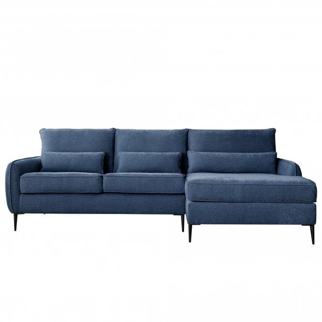 Dura Right Handed Chaise Longue Sofa, Manhattan Navy Velvet