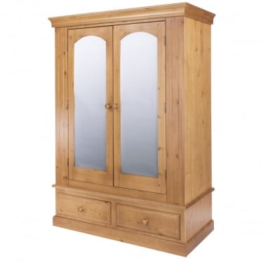 Edwardian Golden Antique Pine 2 Drawer 2 Door Wardrobe