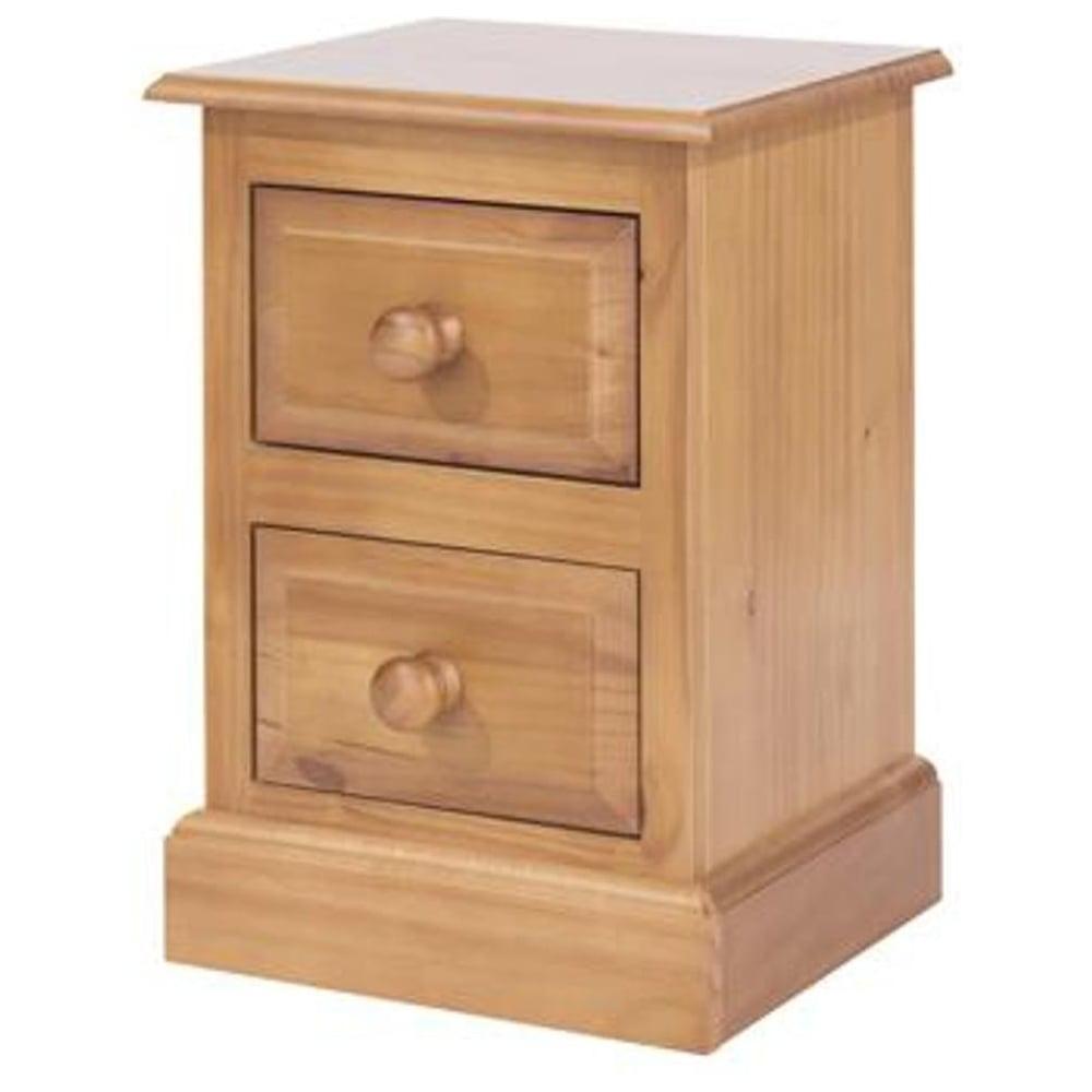 Edwardian Golden Antique Pine 2 Drawer Bedside Cabinet - Core Products Edwardian Golden Antique Pine Bedside Cabinet Leader