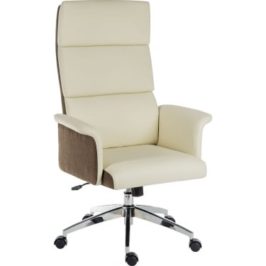 Elegance Cream Executive Chair with Chrome Base