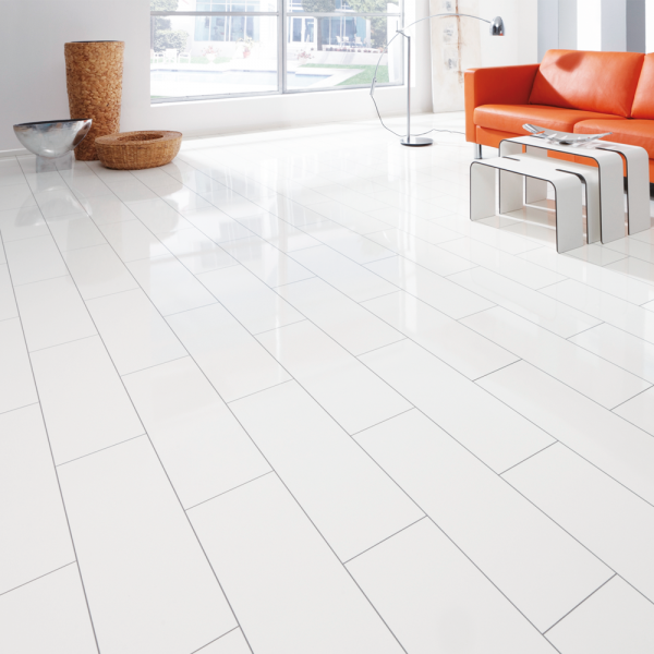 Elesgo supergloss v5 arctic white ac3 laminate for White laminate flooring