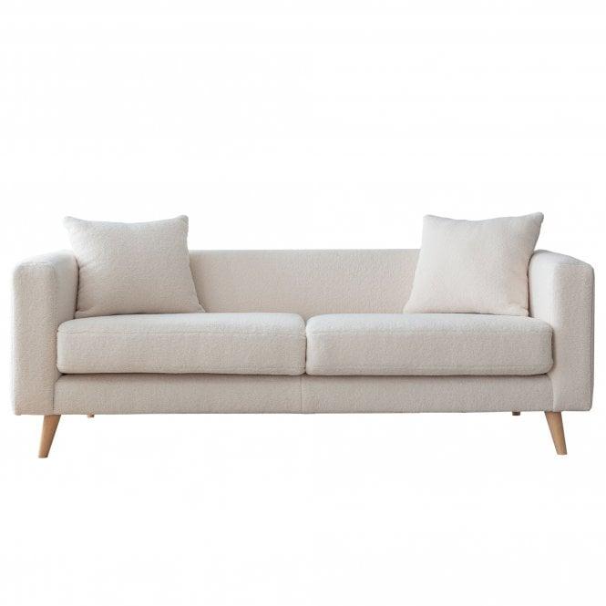 Ellenor 3 Seater Sofa, Ivory White Boucle