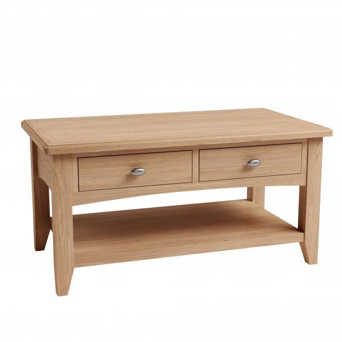 Ellie Rectangular Large 2 Drawer Coffee Table, Light Oak