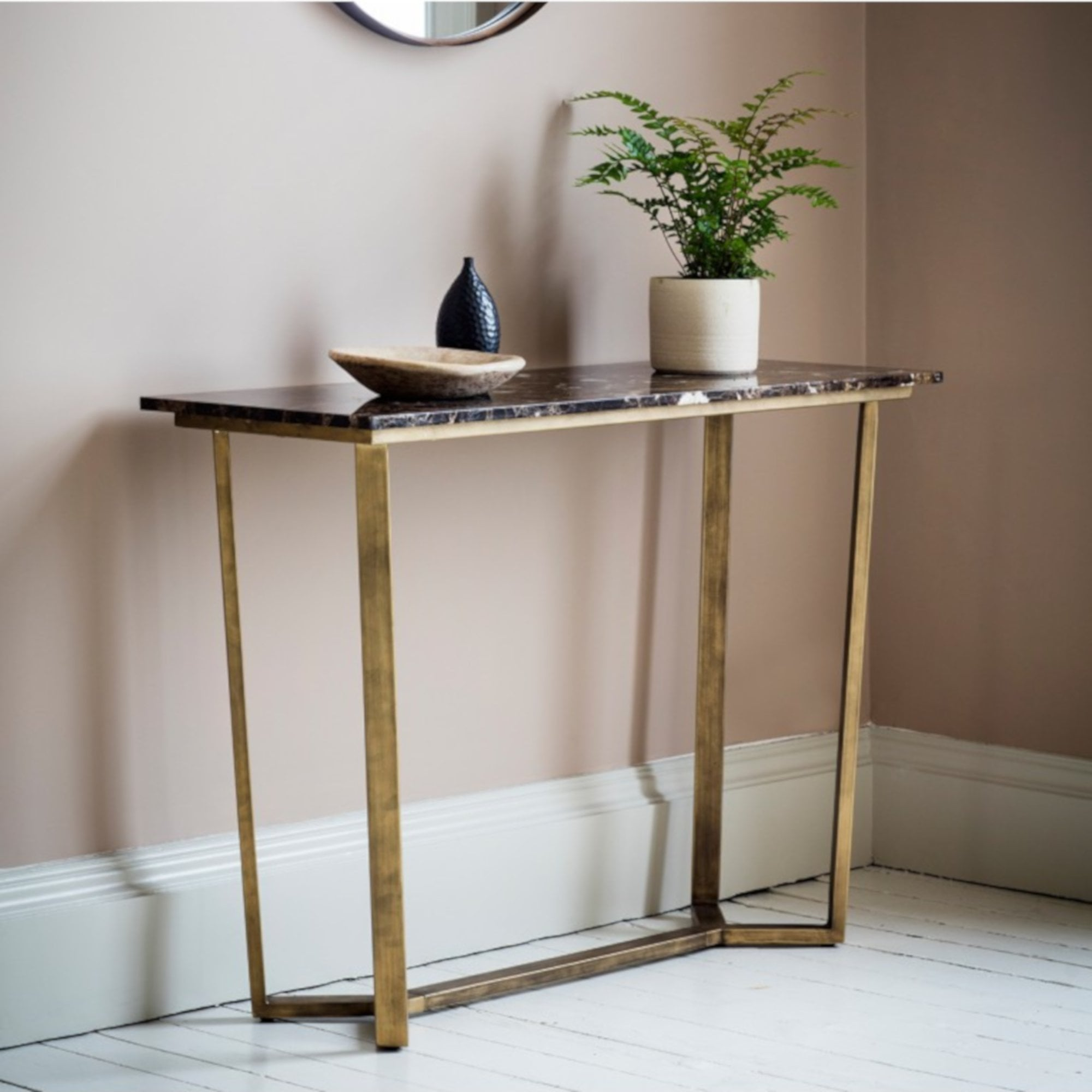 Gallery Direct Emperor Console Table Gold Black Marble Leader Furniture