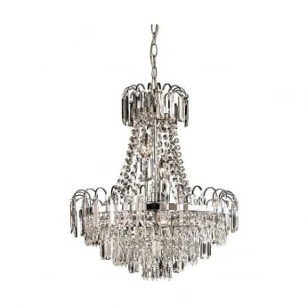 Endon Lighting Amadis Chrome Warm White 6Lt Chandelier Light
