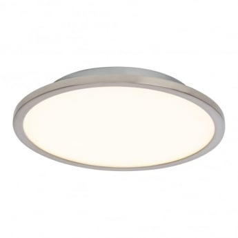 Endon Lighting Ceres Satin Nickel 1Lt Indoor Flush Ceiling Light with Opal Plastic (G9446013)