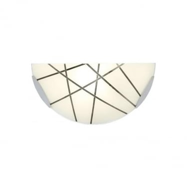 Endon Lighting Crosby Polished Chrome 1Lt Indoor Wall Light with White Glass with Black Details (CROSBY-1WBCH)
