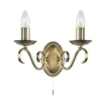 Endon Lighting Bernice 2Lt Antique Brass 60W Candle Wall Light (2030-2AN)