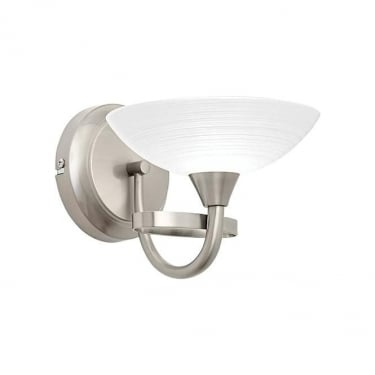 Endon Lighting Cagney 1Lt Satin Chrome & White Glass With Faint Line Pattern 33W Wall Light (CAGNEY-1WBSC)