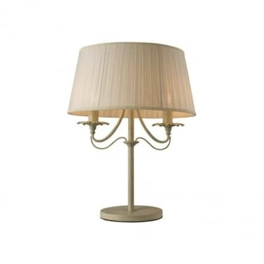 Endon Lighting Chester 2Lt Cream Brushed Gold & Off White Faux Silk 40W Table Light (60762)