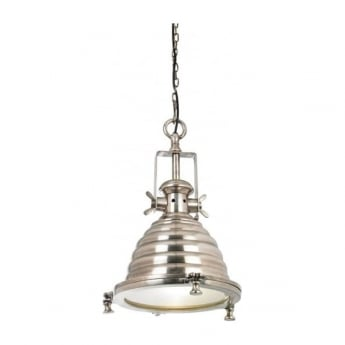 Endon Lighting Gaskell 1Lt Tarnished Silver & Clear Glass 40W Single Pendant Light (EH-GASKELL)