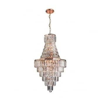 Endon Lighting Innsbruck 18Lt Rose Gold & Asfour Crystal 40W Multi-Arm Pendant Light (61150)