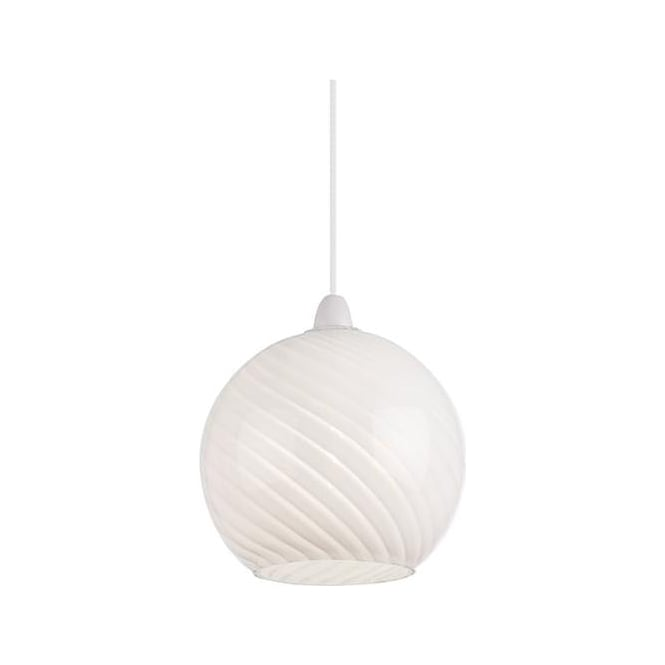 Endon Lighting Lowther 1Lt Patterned White Glass 60W Non-electric Pendant Light (NE-LOWTHER-WH)