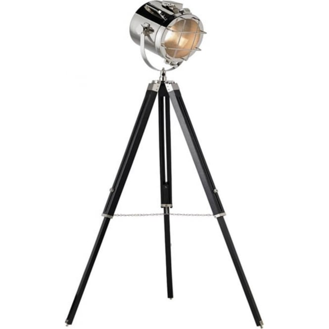 Endon Lighting Nautical 1Lt Polished Nickel Plate & Matt Black 40W Floor Light (EH-NAUTICAL-FL)