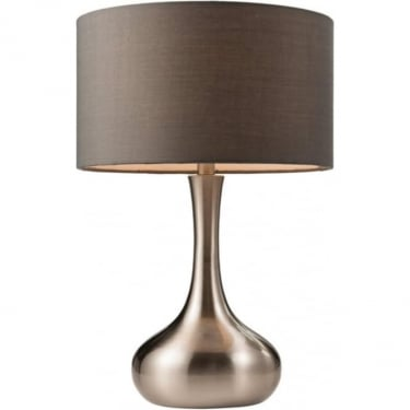 Endon Lighting Piccadilly 1Lt Satin Nickel & Dark Grey Fabric 40W Table Light (61192)