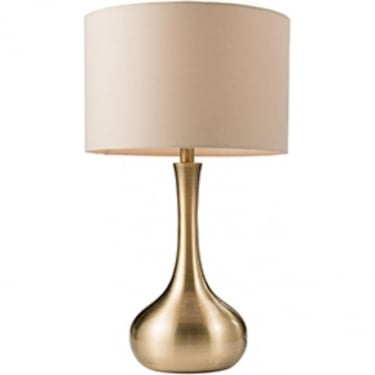 Endon Lighting Piccadilly 1Lt Soft Brass & Taupe Fabric 40W Table Light (61191)