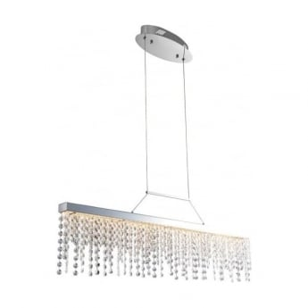Endon Lighting Redford 1Lt Clear Crystal & Chrome 24W LED Pendant Light (60187)