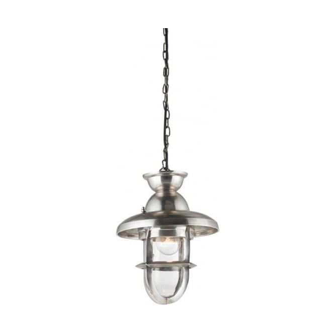 Endon Lighting Rowling 1Lt Tarnished Silver & Clear Glass 40W Single 245mm Pendant Light (EH-ROWLING-L)