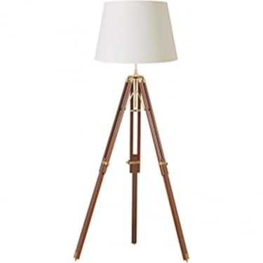 Endon Lighting Tripod 1Lt Sheesham Wood & Solid Brass 60W Floor Light (EH-TRIPOD-FLDW)