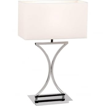 Endon Lighting Epalle Chrome 1Lt Indoor Table Lamp with White Fabric Shade (96930-TLCH)
