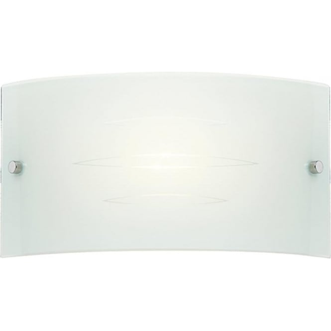 Endon Lighting Hadley Patterned Gloss White Glass 1Lt Indoor Wall Light with Satin Chrome Clips (HADLEY-1WBWH)