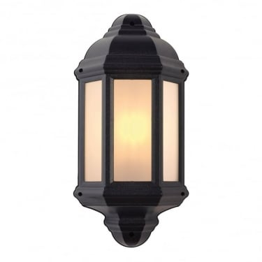 Endon Lighting Halbury Matt Black 1Lt Outdoor Non-Automatic Wall Light with Textured & Frosted Plastic (EL-40114)