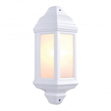 Endon Lighting Halbury Matt White 1Lt Outdoor Non-Automatic Wall Light with Frosted Plastic (64664)