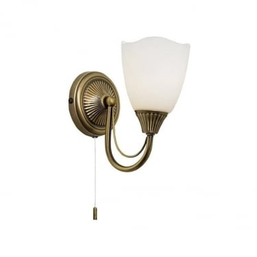 Endon Lighting Haughton Antique Brass 1Lt Indoor Wall Light with Opal Glass (601-1AN)