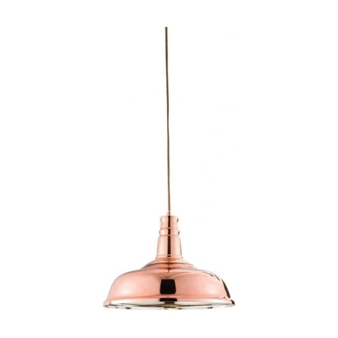 Endon Lighting Jackman Copper Plate Warm White 1Lt Pendant Light
