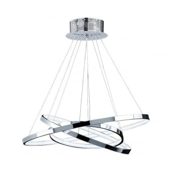 Endon Lighting Kline Chrome 1Lt Indoor Multi-Arm Pendant Light with Frosted Acrylic (KLINE-3CH)
