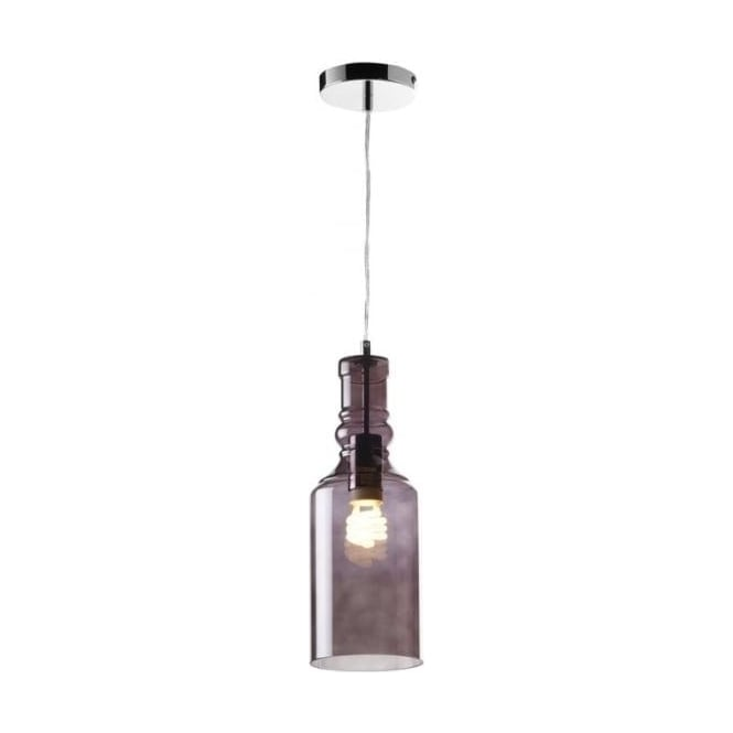 Endon Lighting Lancaster Chrome 1Lt Indoor Pendant Light With Smoked Glass LANCASTER 1SMK