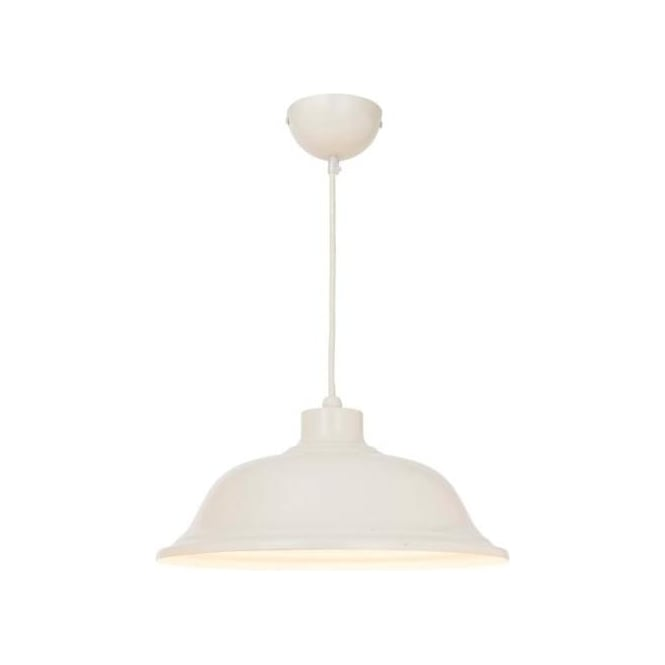 Endon Lighting Laughton Cream Paint Warm White 1Lt Pendant Light