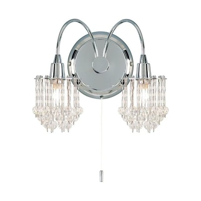 Milieu Chrome 2Lt Indoor Wall Light with Clear Faceted Glass Beads (850-2CH)